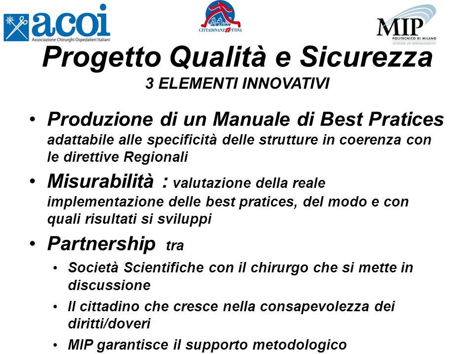 Produzione di un Manuale di Best Pratices adattabile alle specificità delle strutture in coerenza con le direttive Regionali Misurabilità : valutazion