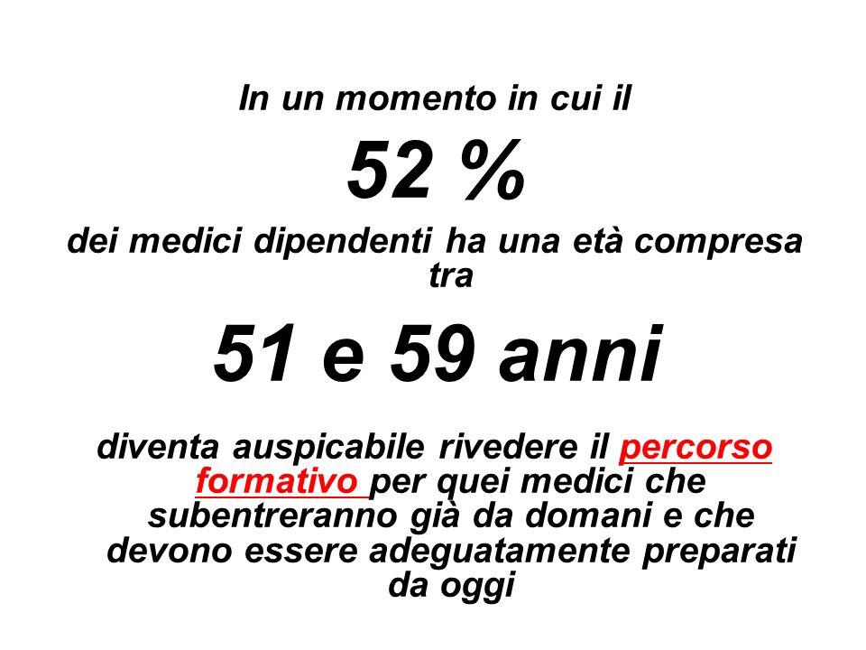 In un momento in cui il 52 % dei medici dipendenti ha una età compresa tra 51 e 59 anni diventa auspicabile rivedere il percorso formativo per quei me