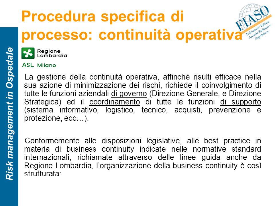 Risk management in Ospedale Procedura specifica di processo: continuità operativa La gestione della continuità operativa, affinché risulti efficace ne