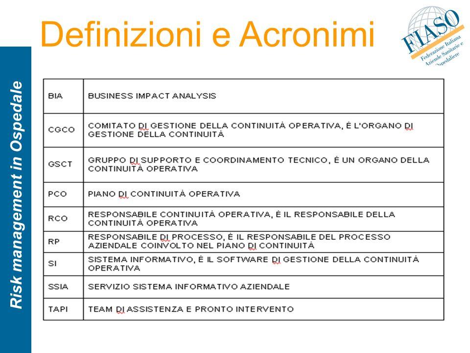 Risk management in Ospedale Definizioni e Acronimi