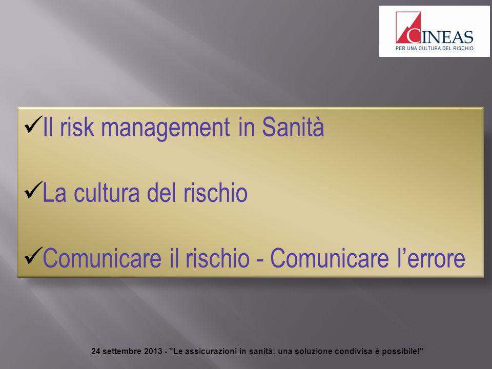 24 settembre 2013 - Le assicurazioni in sanità: una soluzione condivisa è possibile! Il risk management in Sanità La cultura del rischio Comunicare il rischio - Comunicare lerrore