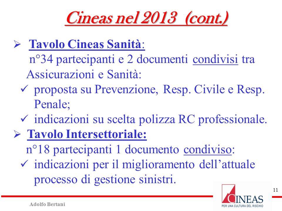 Adolfo Bertani 10 Cineas nel 2013 (cont.) Progetto Abruzzo: concluso aprile 2013 con: n° 19.716 pratiche protocollate Cineas; n° 225 periti coinvolti;