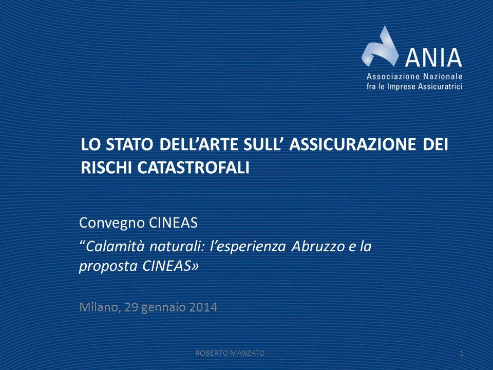 LO STATO DELLARTE SULL ASSICURAZIONE DEI RISCHI CATASTROFALI Convegno CINEAS Calamità naturali: lesperienza Abruzzo e la proposta CINEAS» Milano, 29 g