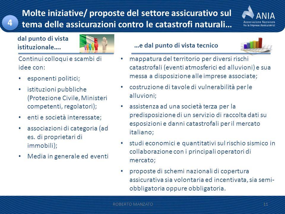 11ROBERTO MANZATO Continui colloqui e scambi di idee con: esponenti politici; istituzioni pubbliche (Protezione Civile, Ministeri competenti, regolato