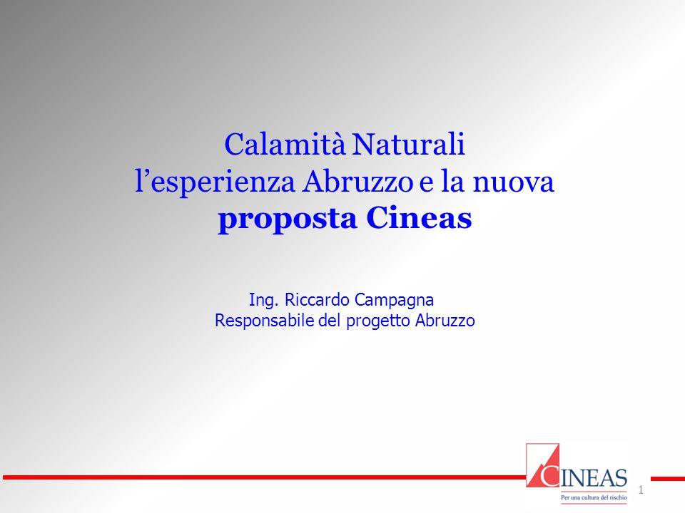 1 Calamità Naturali lesperienza Abruzzo e la nuova proposta Cineas Ing. Riccardo Campagna Responsabile del progetto Abruzzo