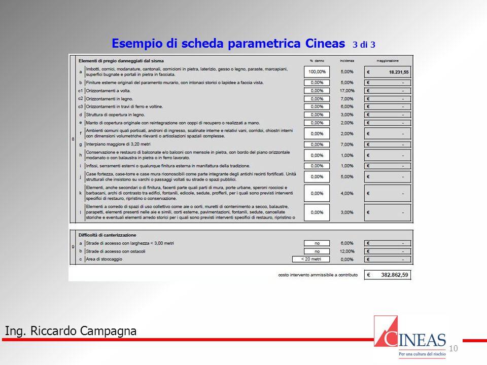 Ing. Riccardo Campagna 10 Esempio di scheda parametrica Cineas 3 di 3