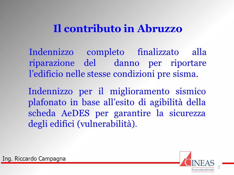 Ing. Riccardo Campagna 2 Il contributo in Abruzzo Indennizzo completo finalizzato alla riparazione del danno per riportare ledificio nelle stesse cond
