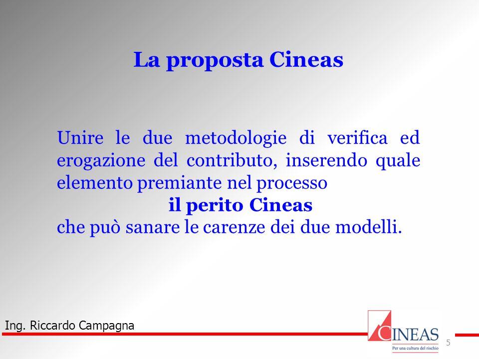 Ing. Riccardo Campagna 5 La proposta Cineas Unire le due metodologie di verifica ed erogazione del contributo, inserendo quale elemento premiante nel