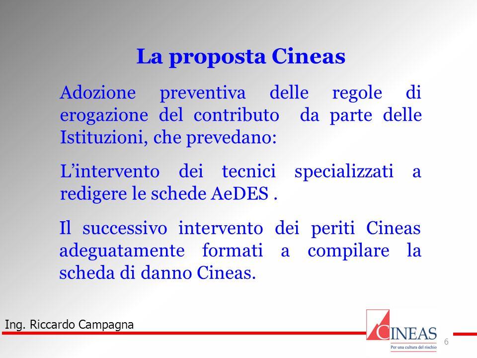 Ing. Riccardo Campagna 6 La proposta Cineas Adozione preventiva delle regole di erogazione del contributo da parte delle Istituzioni, che prevedano: L