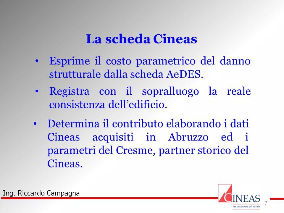 Ing. Riccardo Campagna 7 La scheda Cineas Esprime il costo parametrico del danno strutturale dalla scheda AeDES. Registra con il sopralluogo la reale