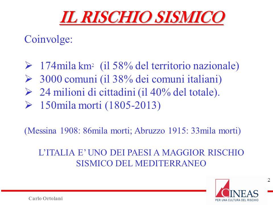 Carlo Ortolani Coinvolge: 174mila km 2 (il 58% del territorio nazionale) 3000 comuni (il 38% dei comuni italiani) 24 milioni di cittadini (il 40% del