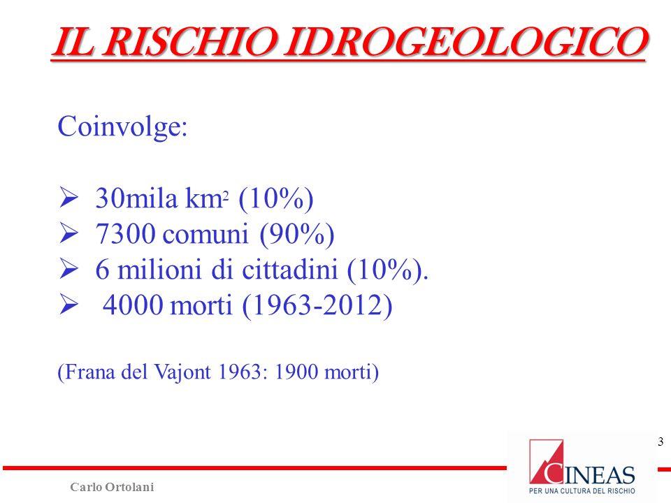 Carlo Ortolani Coinvolge: 30mila km 2 (10%) 7300 comuni (90%) 6 milioni di cittadini (10%). 4000 morti (1963-2012) (Frana del Vajont 1963: 1900 morti)