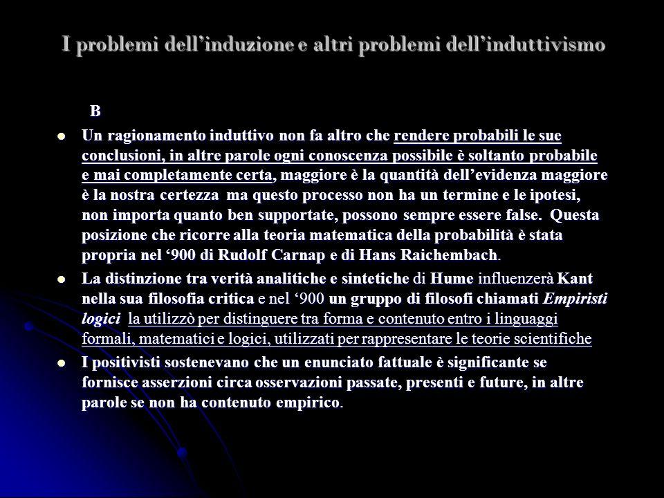 I problemi dellinduzione e altri problemi dellinduttivismo B Un ragionamento induttivo non fa altro che rendere probabili le sue conclusioni, in altre