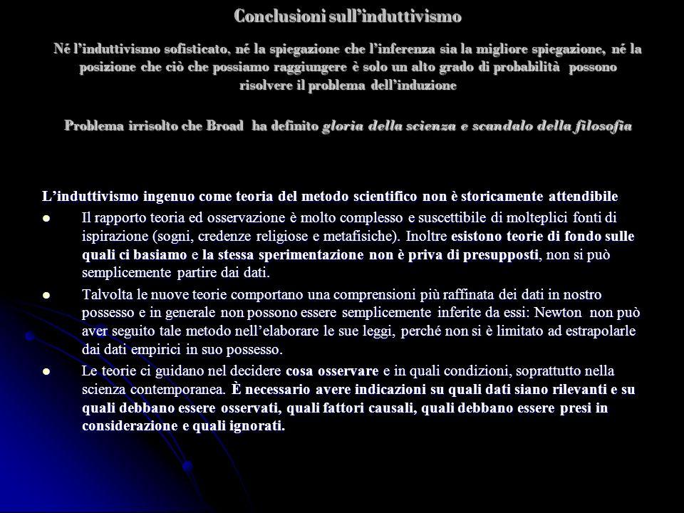 Conclusioni sullinduttivismo Né linduttivismo sofisticato, né la spiegazione che linferenza sia la migliore spiegazione, né la posizione che ciò che p