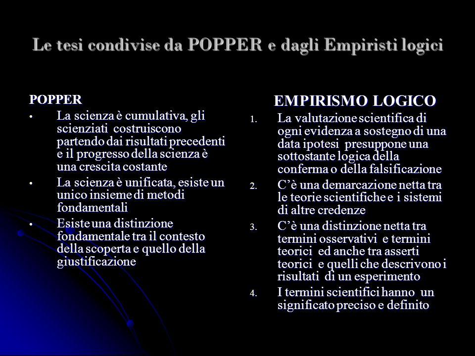 Le tesi condivise da POPPER e dagli Empiristi logici POPPER La scienza è cumulativa, gli scienziati costruiscono partendo dai risultati precedenti e i