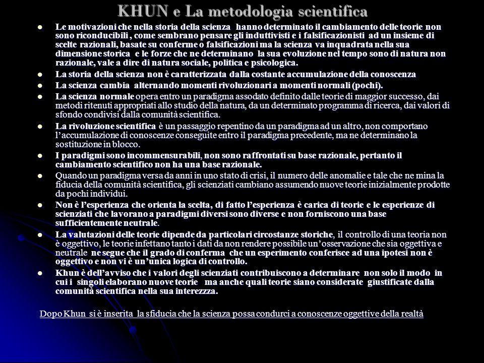 KHUN e La metodologia scientifica Le motivazioni che nella storia della scienza hanno determinato il cambiamento delle teorie non sono riconducibili,