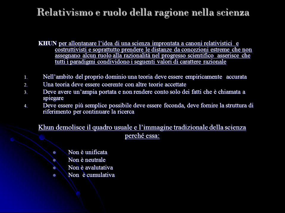 Relativismo e ruolo della ragione nella scienza KHUN per allontanare lidea di una scienza improntata a canoni relativistici e costruttivisti e sopratt