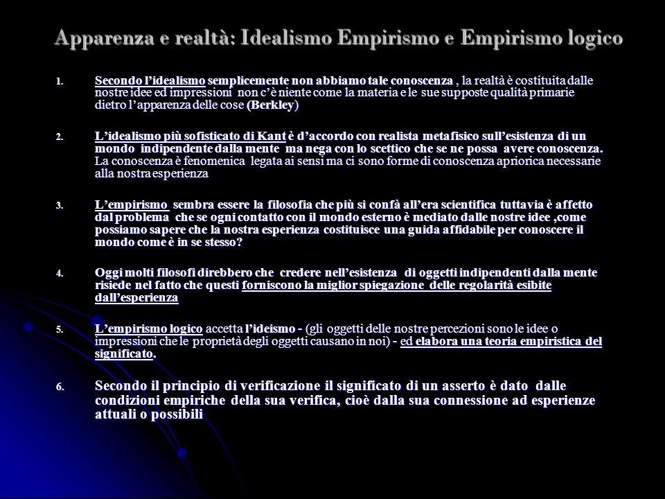 Apparenza e realtà: Idealismo Empirismo e Empirismo logico 1. Secondo lidealismo semplicemente non abbiamo tale conoscenza, la realtà è costituita dal