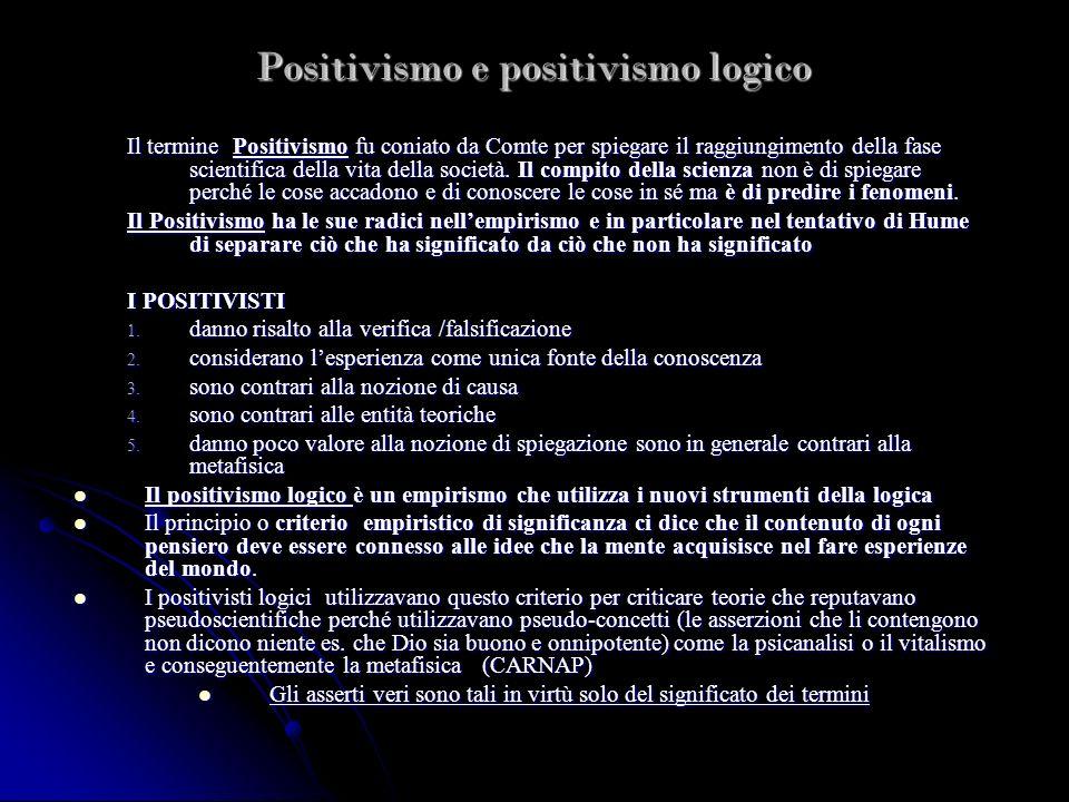Positivismo e positivismo logico Il termine Positivismo fu coniato da Comte per spiegare il raggiungimento della fase scientifica della vita della soc