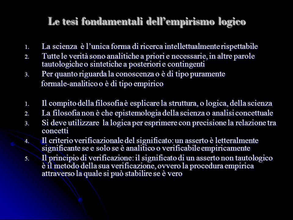 Le tesi fondamentali dellempirismo logico 1. La scienza è lunica forma di ricerca intellettualmente rispettabile 2. Tutte le verità sono analitiche a