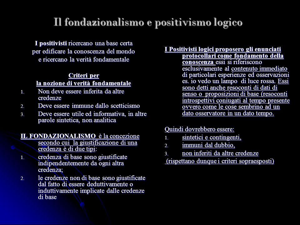Il fondazionalismo e positivismo logico I positivisti ricercano una base certa per edificare la conoscenza del mondo e ricercano la verità fondamental