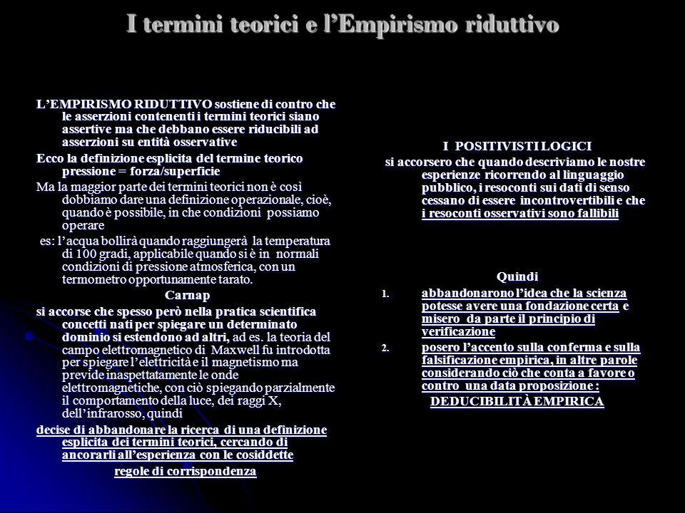 I termini teorici e lEmpirismo riduttivo LEMPIRISMO RIDUTTIVO sostiene di contro che le asserzioni contenenti i termini teorici siano assertive ma che