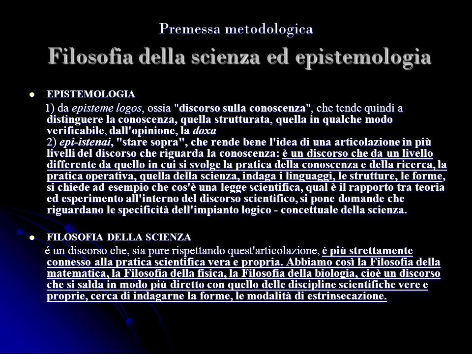 Premessa metodologica Filosofia della scienza ed epistemologia EPISTEMOLOGIA EPISTEMOLOGIA 1) da episteme logos, ossia