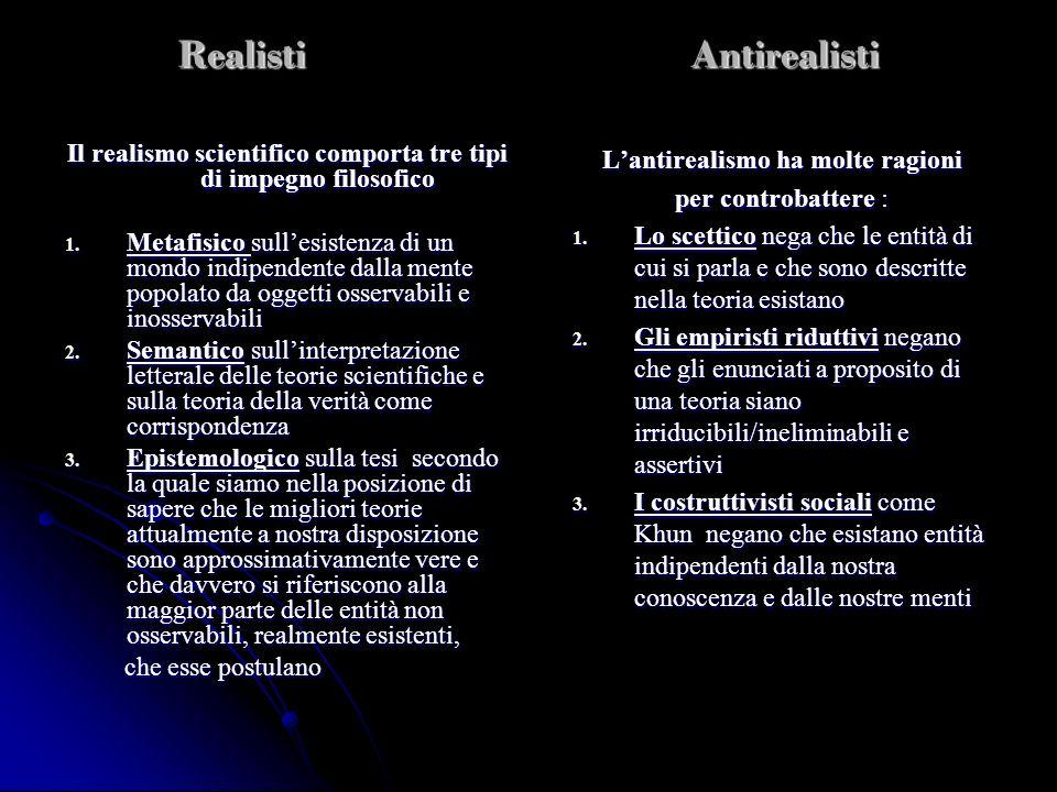 Realisti Antirealisti Il realismo scientifico comporta tre tipi di impegno filosofico 1. Metafisico sullesistenza di un mondo indipendente dalla mente