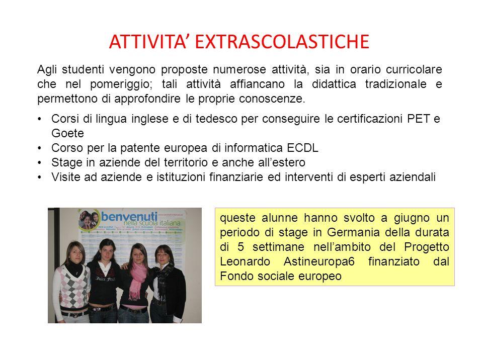 ATTIVITA EXTRASCOLASTICHE Agli studenti vengono proposte numerose attività, sia in orario curricolare che nel pomeriggio; tali attività affiancano la