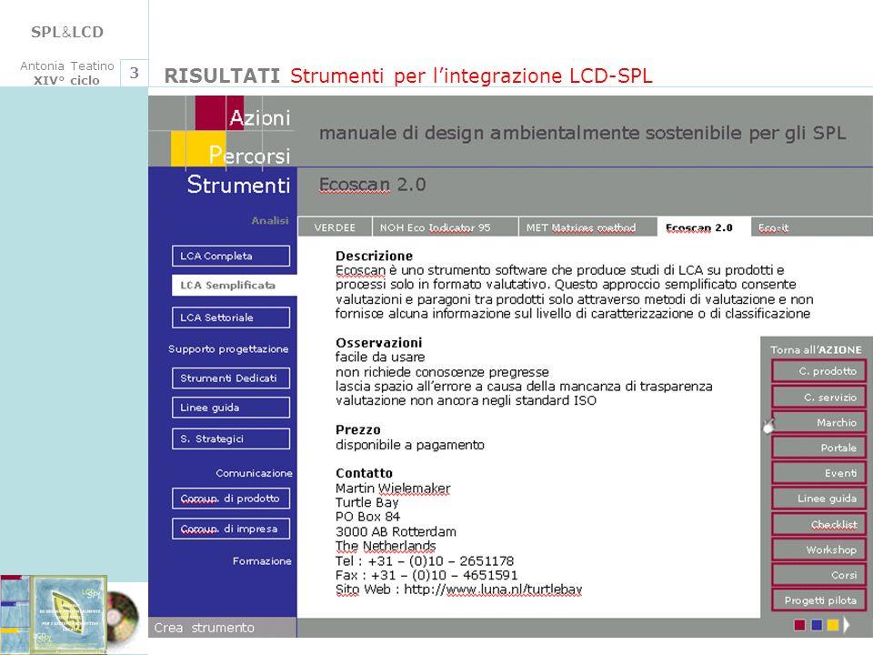 SPL & LCD Antonia Teatino XIV° ciclo RISULTATI Strumenti per lintegrazione LCD-SPL 3