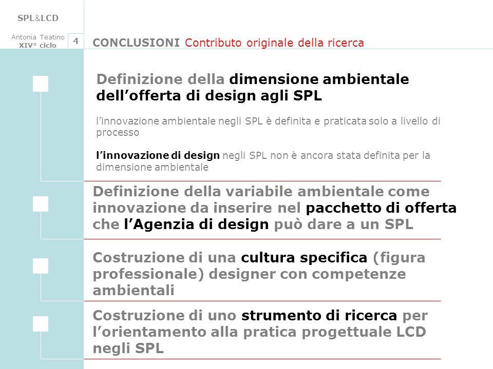 SPL & LCD Antonia Teatino XIV° ciclo CONCLUSIONI Contributo originale della ricerca 4 Definizione della dimensione ambientale dellofferta di design ag