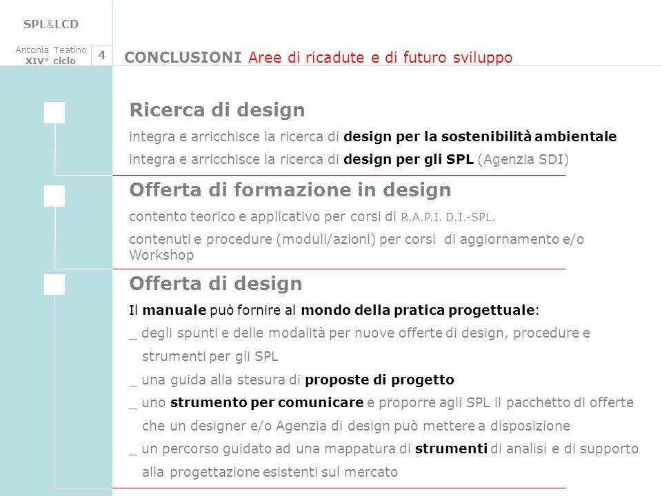 SPL & LCD Antonia Teatino XIV° ciclo CONCLUSIONI Aree di ricadute e di futuro sviluppo 4 Ricerca di design integra e arricchisce la ricerca di design