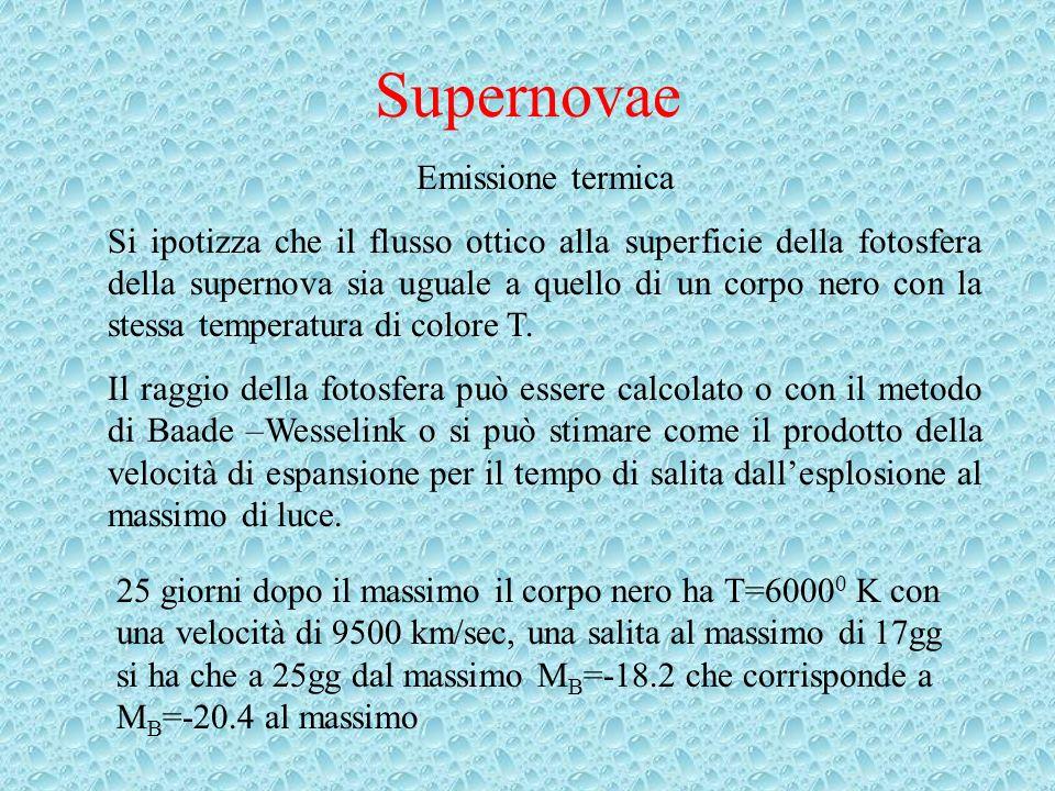 Supernovae Emissione termica Si ipotizza che il flusso ottico alla superficie della fotosfera della supernova sia uguale a quello di un corpo nero con la stessa temperatura di colore T.