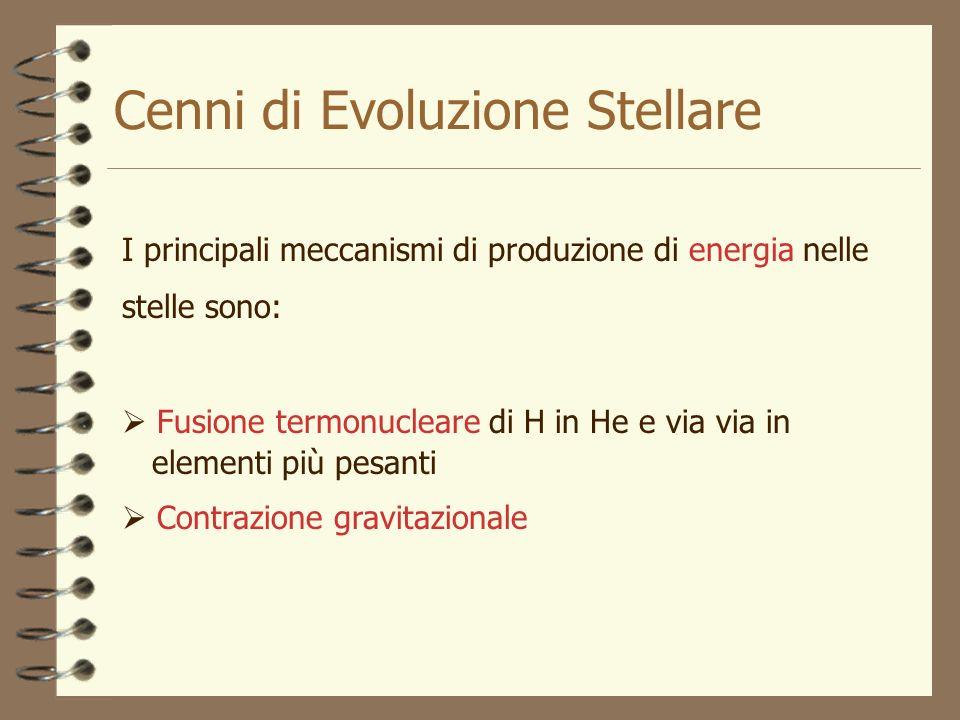Cenni di Evoluzione Stellare I principali meccanismi di produzione di energia nelle stelle sono: Fusione termonucleare di H in He e via via in element