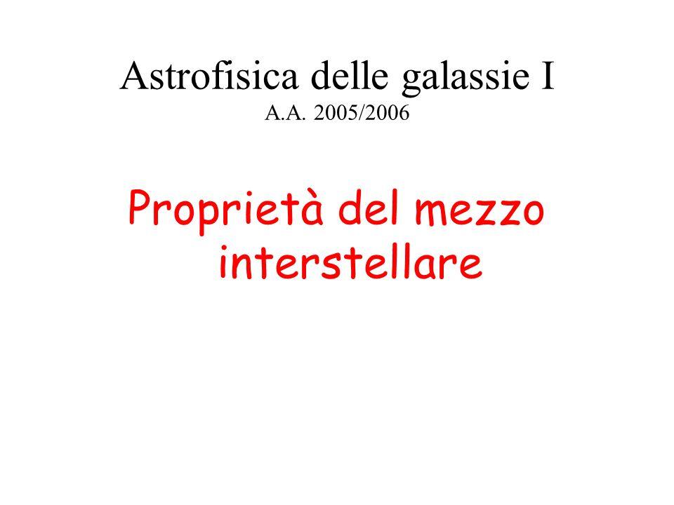 Astrofisica delle galassie I A.A. 2005/2006 Proprietà del mezzo interstellare