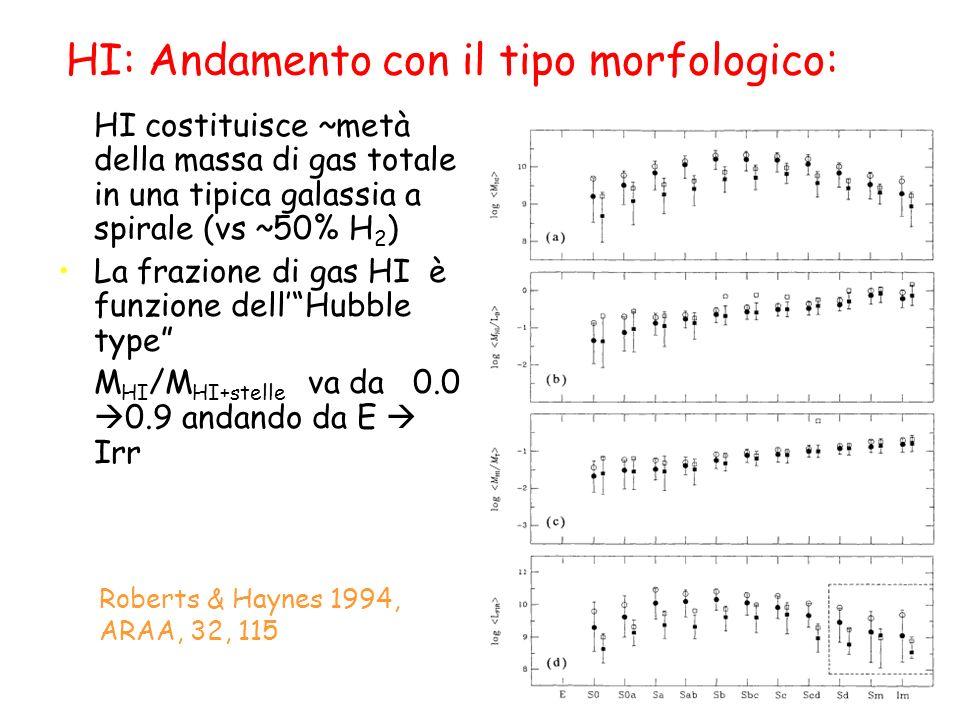 HI: Andamento con il tipo morfologico: HI costituisce ~metà della massa di gas totale in una tipica galassia a spirale (vs ~50% H 2 ) La frazione di gas HI è funzione dellHubble type M HI /M HI+stelle va da 0.0 0.9 andando da E Irr Roberts & Haynes 1994, ARAA, 32, 115