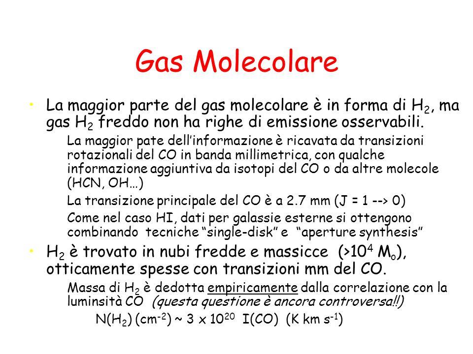 ISM ionizzata tiepida Regioni HII –Traccia in maniera diretta la formazione stellare massiccia –Tracciata principalmente da righe di ricombinazione dellidrogeno (H, P, Br ) o da radio continuo termico Gas ionizzato diffuso –Densità caratteristica 0.01 - 0.1 cm-3 –in spirali il gas è fotoionizzato principalmente da radiazione UV prodotta (sfuggita) da regioni HII Galassie early-type (e sferoidi) possono avere una fase diffusa che è ionizzata da shocks –A volte associata con la fase diffusa neutra