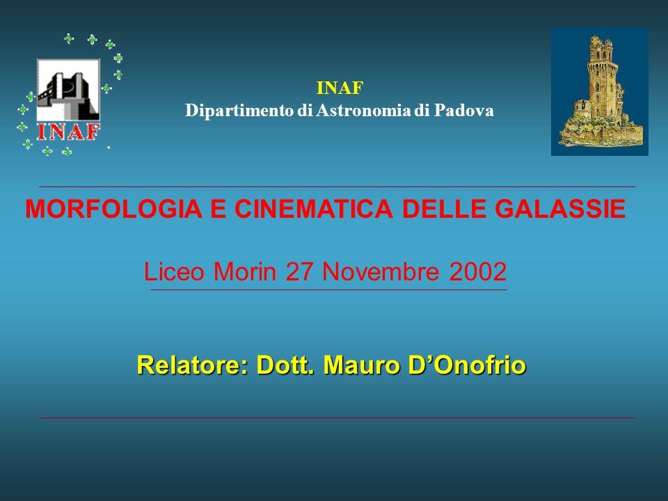 INAF Dipartimento di Astronomia di Padova Relatore: Dott.