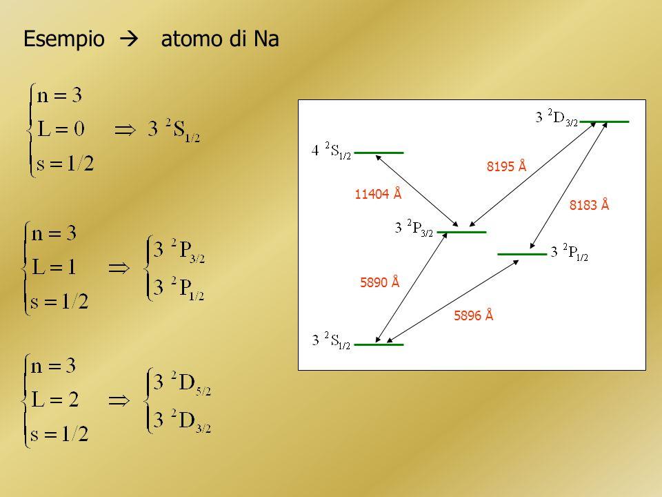 Esempio atomo di Na 5896 Å 5890 Å 11404 Å 8195 Å 8183 Å