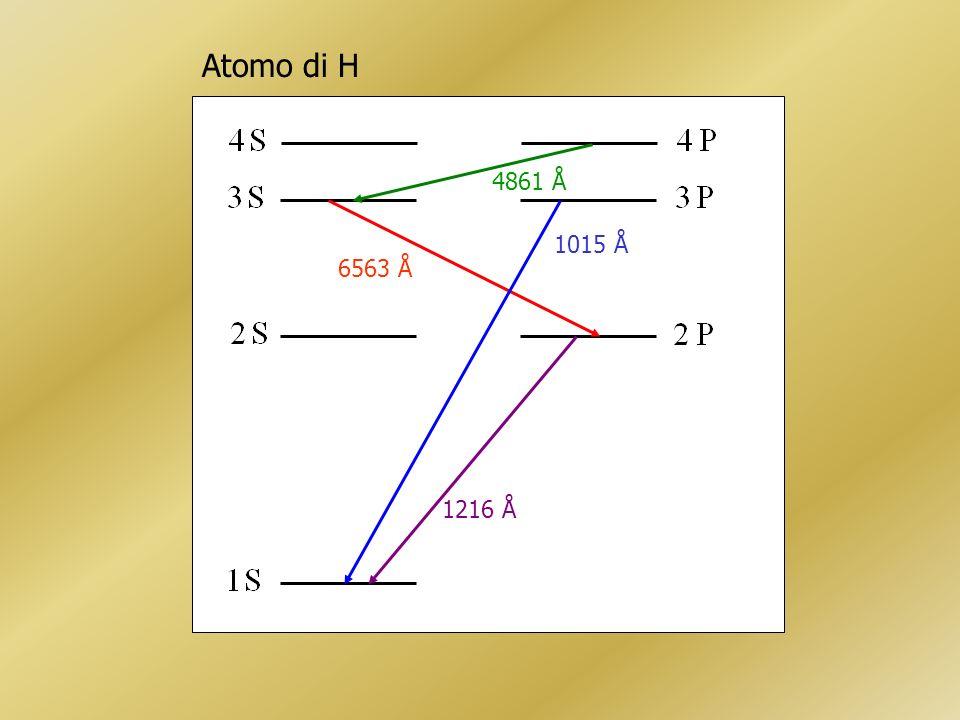 Atomo di H 1216 Å 1015 Å 6563 Å 4861 Å