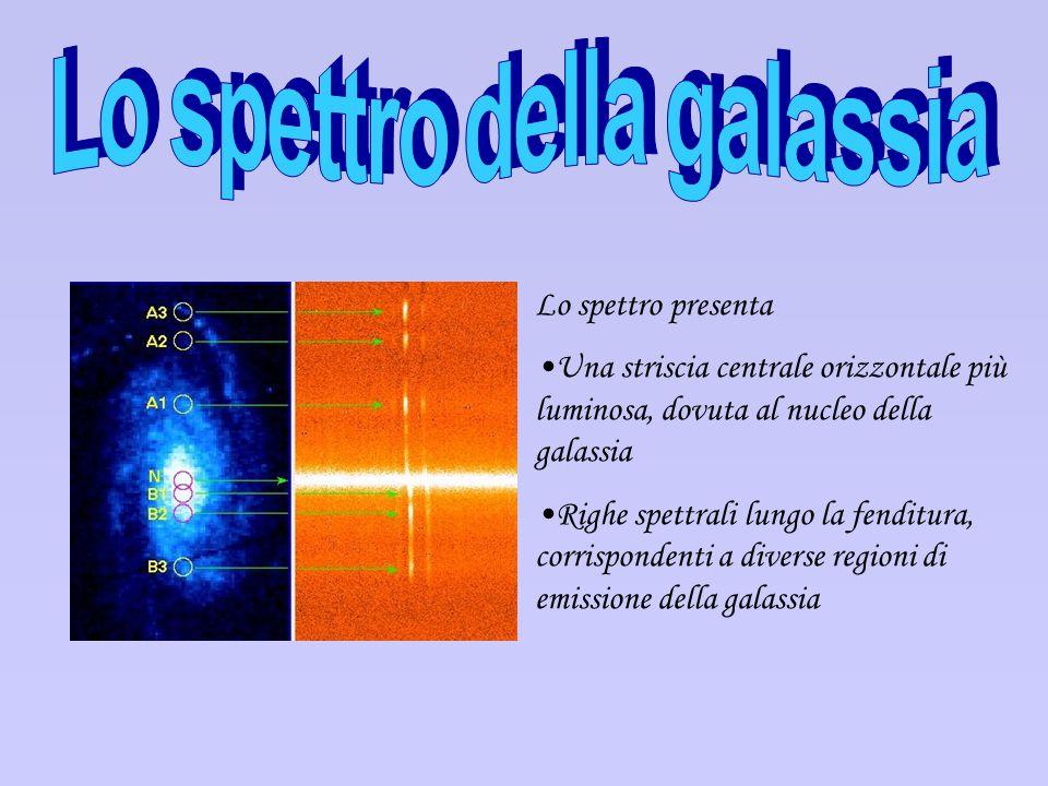 Lo spettro presenta Una striscia centrale orizzontale più luminosa, dovuta al nucleo della galassia Righe spettrali lungo la fenditura, corrispondenti
