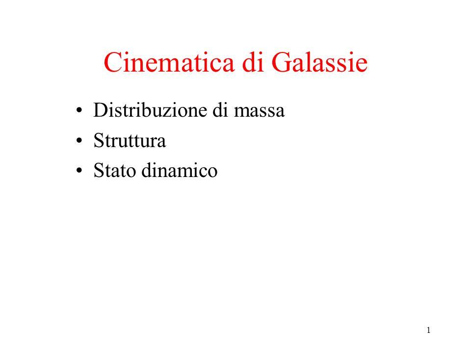 1 Cinematica di Galassie Distribuzione di massa Struttura Stato dinamico