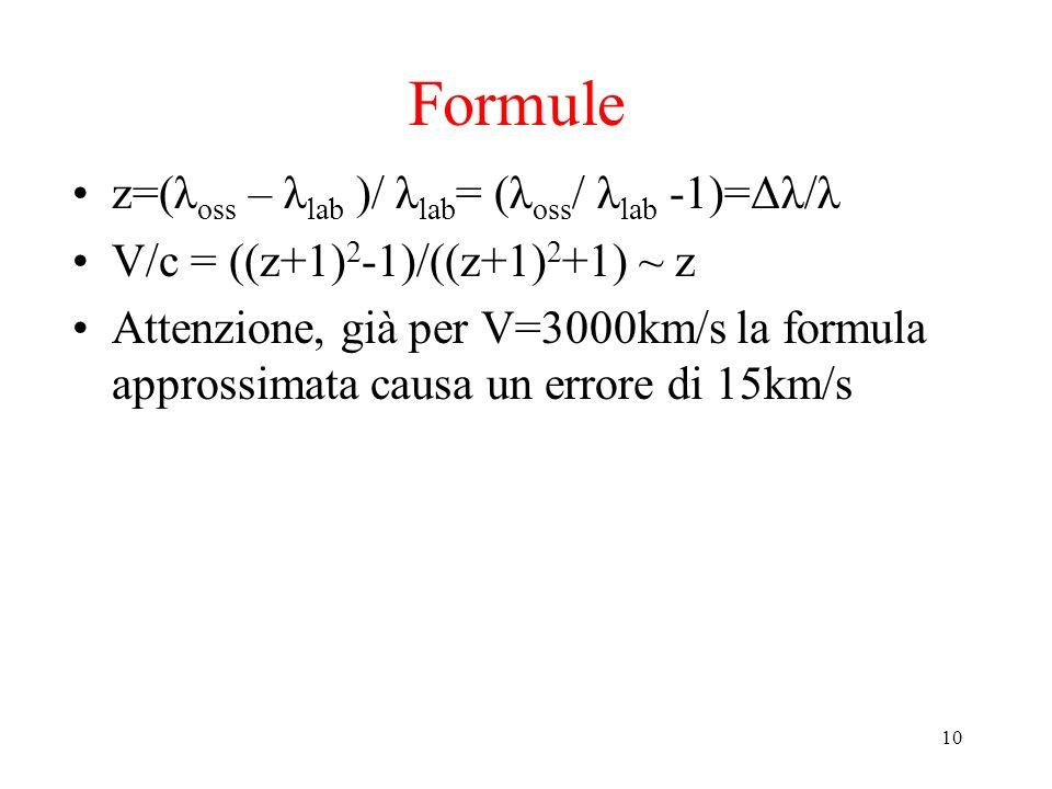 10 Formule z=(λ oss – λ lab )/ λ lab = (λ oss / λ lab -1)=Δλ/λ V/c = ((z+1) 2 -1)/((z+1) 2 +1) ~ z Attenzione, già per V=3000km/s la formula approssim