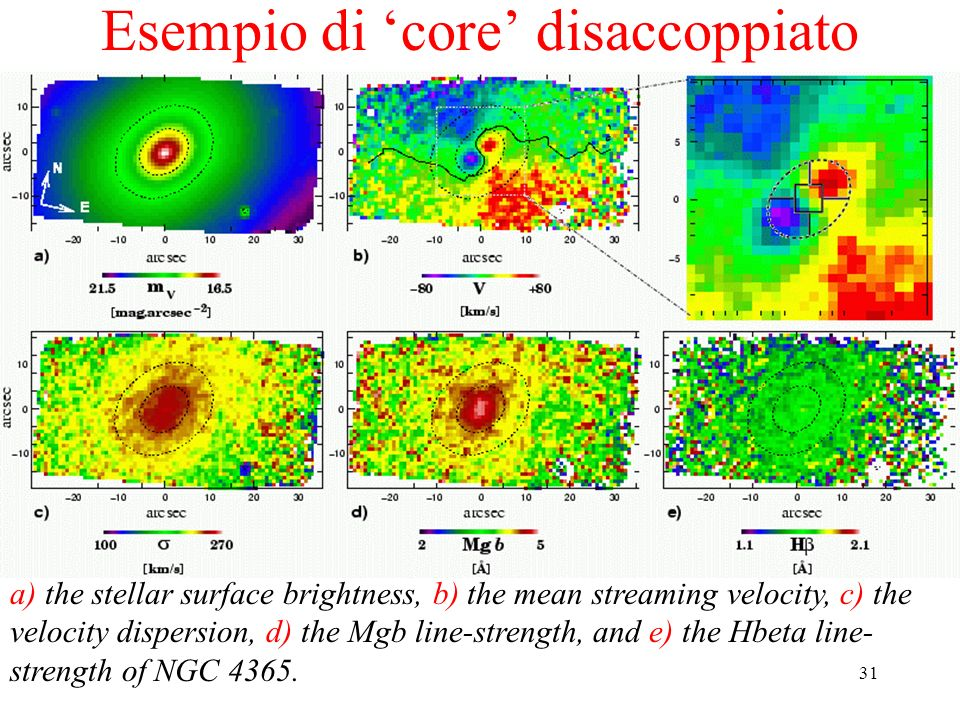 31 Esempio di core disaccoppiato a) the stellar surface brightness, b) the mean streaming velocity, c) the velocity dispersion, d) the Mgb line-streng