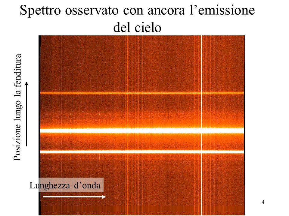 4 Spettro osservato con ancora lemissione del cielo Lunghezza donda Posizione lungo la fenditura