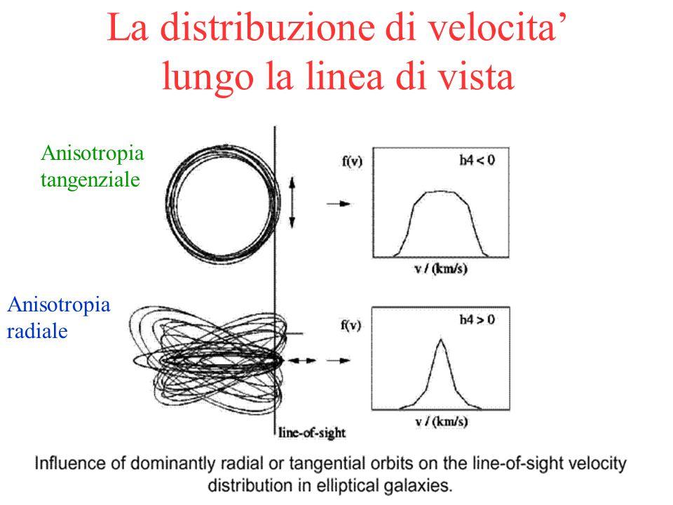 46 La distribuzione di velocita lungo la linea di vista Anisotropia tangenziale Anisotropia radiale