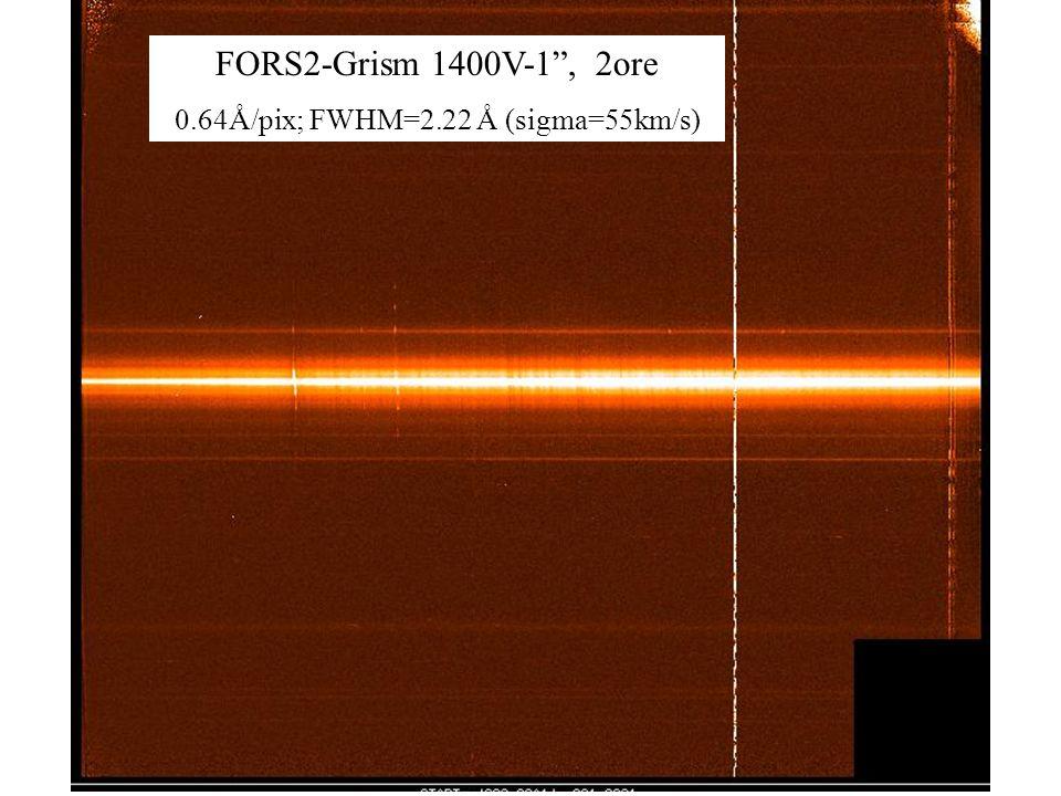 60 FORS2-Grism 1400V-1, 2ore 0.64Å/pix; FWHM=2.22 Å (sigma=55km/s)