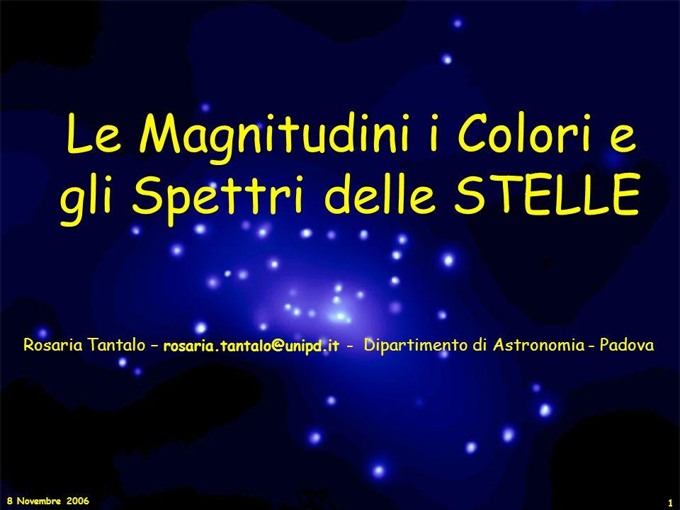 8 Novembre 2006 12 La Magnitudine e la Luminosità Siano m 1 ed m 2 le magnitudini che corrispondono alle intensità I 1 e I 2, osservate per due diverse stelle.