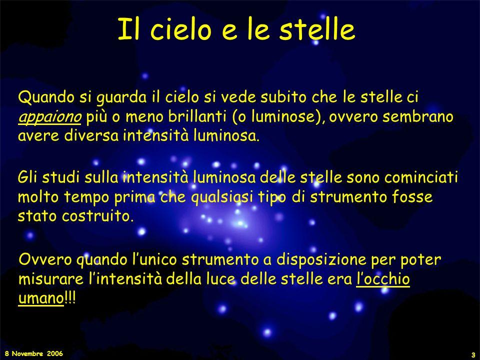8 Novembre 2006 4 Il cielo e le stelle I primi studi furono fatti da Ipparco di Nicea (astronomo greco) già nel II secolo a.C., e successivamente da Claudio Tolomeo (circa 150 a.C.).