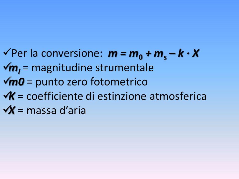 m = m 0 + m s – k X Per la conversione: m = m 0 + m s – k X m i m i = magnitudine strumentale m0 m0 = punto zero fotometrico K K = coefficiente di est